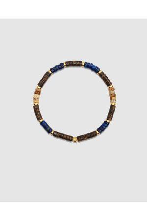 Nialaya Men Bracelets - Men's Wristband with Lapis and Coconut Heishi Beads - Jewellery Men's Wristband with Lapis and Coconut Heishi Beads