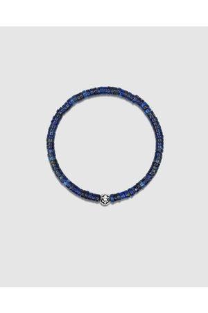 Nialaya Men Bracelets - Men's Wristband with Lapis Heishi Beads and Silver - Jewellery Men's Wristband with Lapis Heishi Beads and Silver