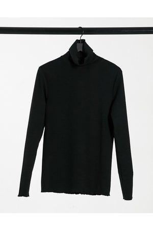 ASOS Muscle T-shirt with turtleneck in black seersucker fabric