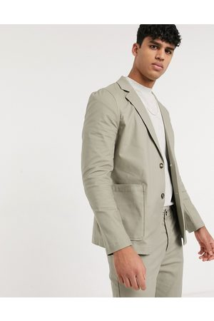 ASOS Co-ord skinny soft tailored cotton blazer with square pockets in khaki-Green