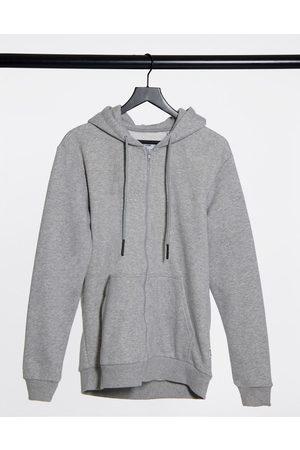 Only & Sons Zip through hoodie in light grey