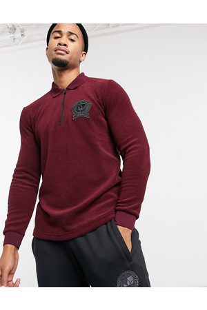 adidas Long-sleeved polo top with collegiate crest in burgundy terry towelling-Red