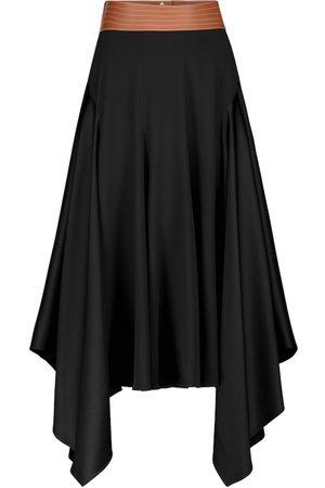 Loewe Leather-trimmed asymmetric midi skirt
