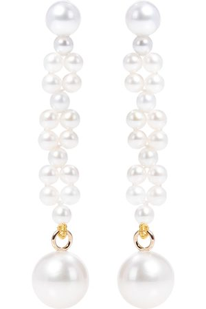 SOPHIE BILLE BRAHE Tressé 14kt gold earrings with freshwater pearls