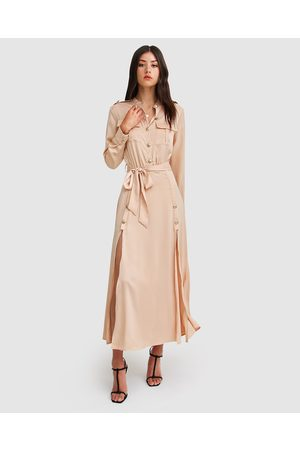Belle & Bloom Lover To Lover Maxi Shirt Dress - Dresses (Champagne) Lover To Lover Maxi Shirt Dress