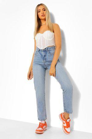 adidas Women Straight - Denim Basic Vintage Straight Leg Jean- Mid