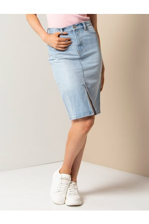 Forever New Women Pencil Skirts - Lilly Petite Denim Pencil Skirt