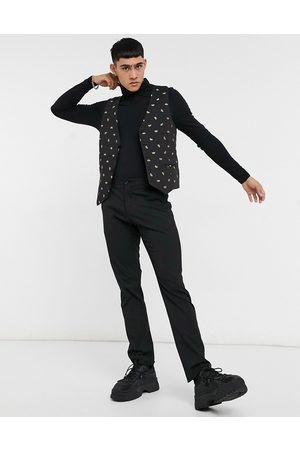 Bolongaro Waistcoats - Skinny fit all over bee embroidered suit waistcoat in black