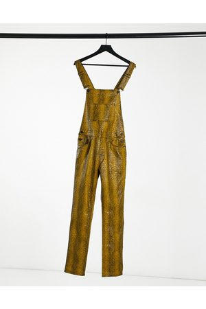 ASOS Leather-look overalls in yellow snake print