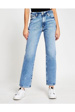 River Island Blair high rise straight cut ripped jeans in light blue