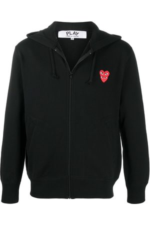 Comme des Garçons Men Hoodies - Heart-embroidered zip-up hoodie