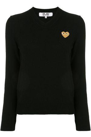 Comme des Garçons Logo-patch v-neck jumper