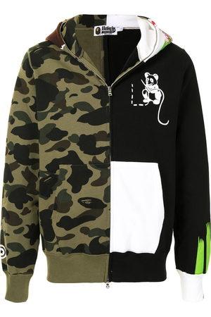 A Bathing Ape Men Hoodies - Panelled camouflage print zip-up hoodie