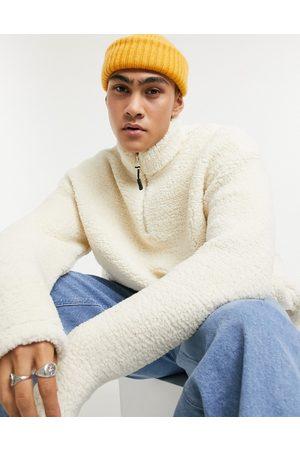 ASOS Sweatshirts - Teddy borg sweatshirt with half zip in cream-Beige