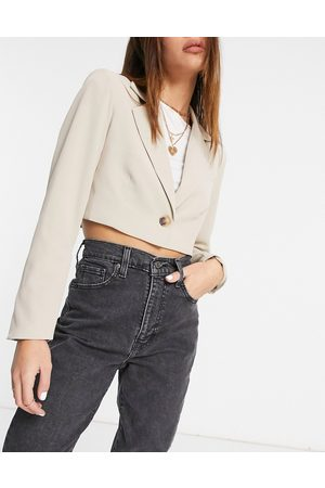 Aria Cove Cropped tailored jacket with tie sleeve detail in stone-Beige