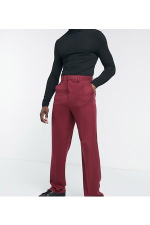 ASOS Wide Leg Pants - Tall wide leg suit pants in burgundy twill-Red