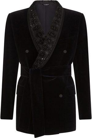 Dolce & Gabbana Men Blazers - Belted velvet blazer jacket