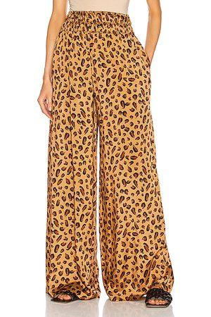 ROSETTA GETTY Gathered Waist Leopard Pant in Camel