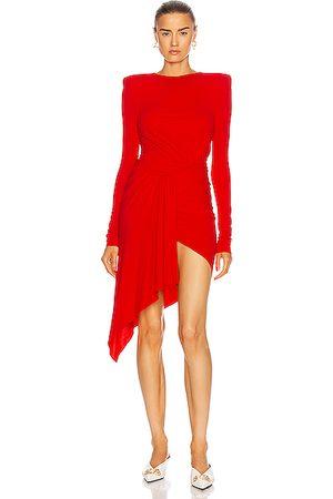 ALEXANDRE VAUTHIER Women Asymmetrical Dresses - Ruched Asymmetric Mini Dress in Poppy