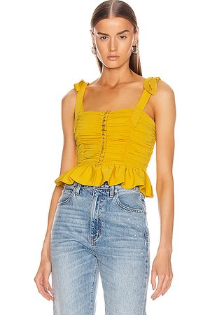 MARIANNA SENCHINA Ruched Button Up Sleeveless Top in