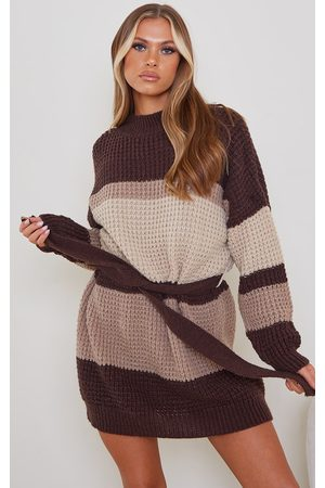 PRETTYLITTLETHING Chocolate Colour Block Waffle Knitted Jumper Dress