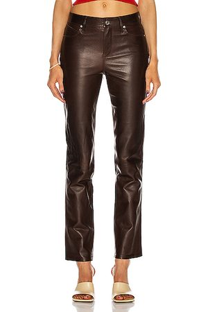 RTA Women Leather Pants - Remi Leather Pant in Cedar Crispy Wet