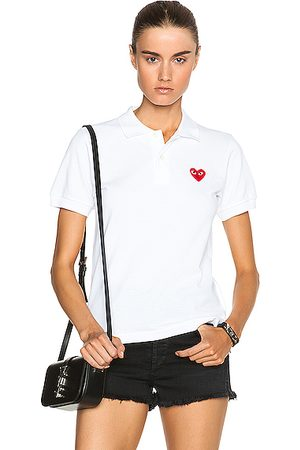 Comme des Garçons Women Polo Shirts - Cotton Polo with Emblem in