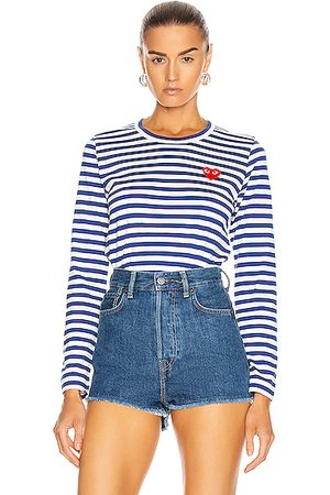 Comme des Garçons Women Long Sleeve - Striped Cotton Heart Tee in Royal