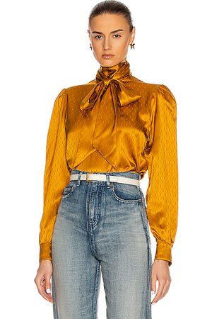 Saint Laurent Women Blouses - Tie Blouse in Moutarde