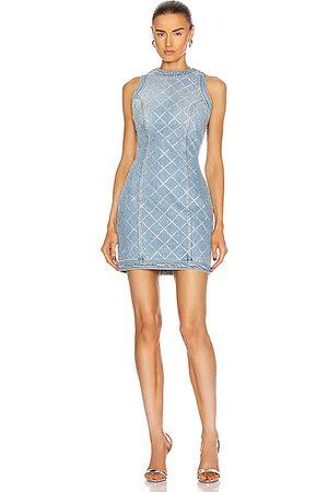 Balmain Short Sleeveless Strass Grid Denim Dress in Bleu Jean & Cristal