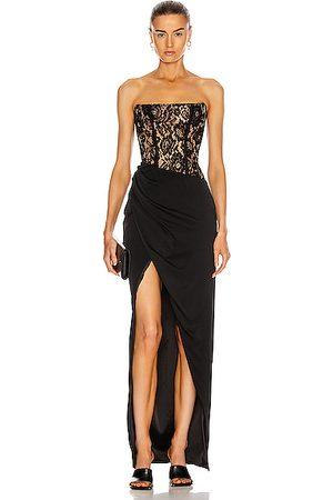 RASARIO Asymmetric Lace Corset Gown in