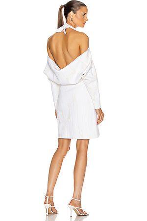 Proenza Schouler Jacquard Long Sleeve Bandana Neck Dress in Combo