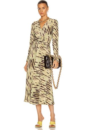 ROTATE Women Evening Dresses - Sierra Dress in Tiger & Muted Lime Combo