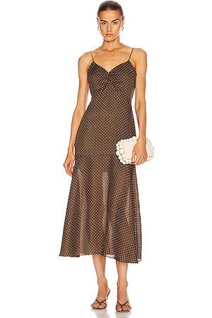 ALEXIS Nizarra Dress in Mocha Dot Linen
