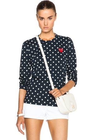 Comme des Garçons Women Long Sleeve - Cotton Emblem Dot Tee in Navy