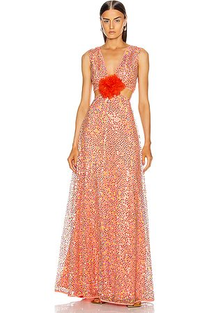 Markarian Iridescent Sequin Cut Out Gown in Coral