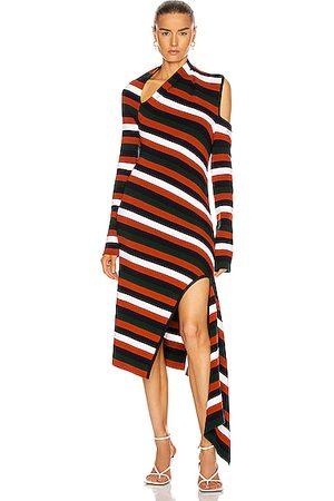 MONSE Stripe Sliced Long Sleeve Knit Dress in Midnight Multi