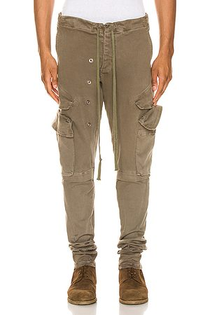 GREG LAUREN Men Cargo Pants - Stretch Denim Cargo in Army