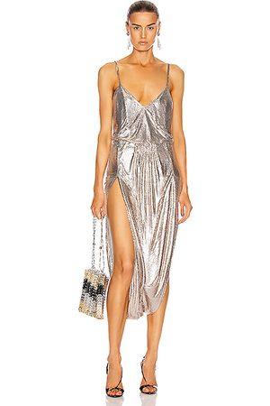 Saint Laurent Women Sleeveless Dresses - Strappy Metallic Dress in