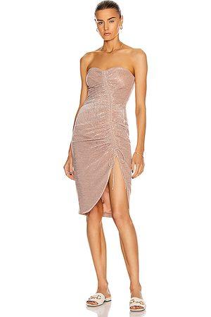 JONATHAN SIMKHAI Roxanne Bustier Ruffle Dress in Rose