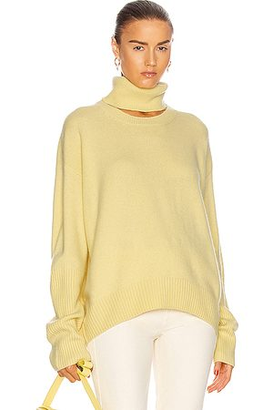 Zeynep Arcay Turtleneck Cutout Sweater in Lemon