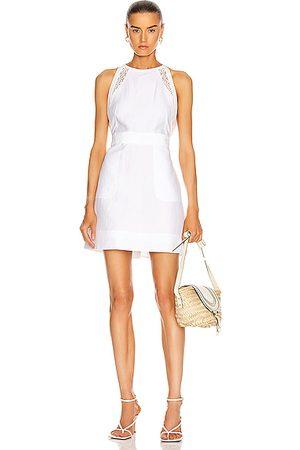 Chloé Women Sleeveless Dresses - Linen Apron Mini Dress in Iconic Milk