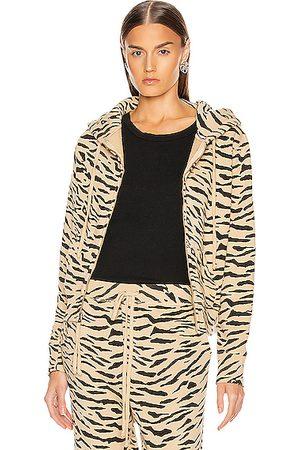 NILI LOTAN Women Hoodies - Callie Zip Up Hoodie in Sandstone & Zebra Print