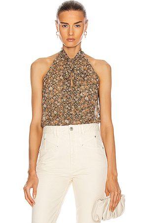 NILI LOTAN Halter Tie Neck Blouse in Multi Floral Print
