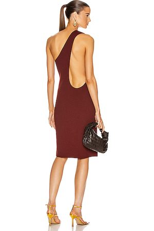 Bottega Veneta Women Party Dresses - One Shoulder Dress in Rust