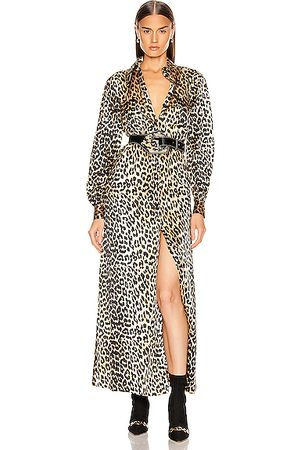 Ganni Women Printed Dresses - Silk Stretch Satin Dress in Leopard