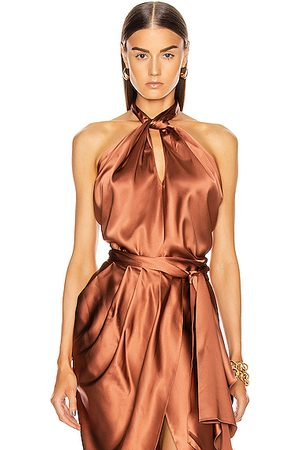 JOHANNA ORTIZ City Scape Draped Halter Silk Top in Dark Caramel