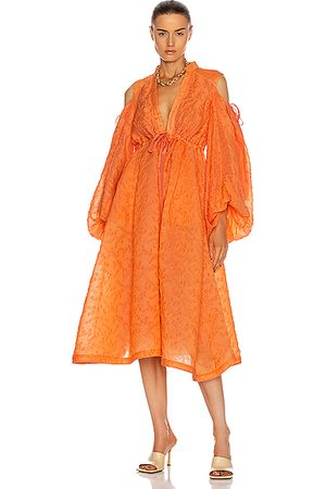 Rosie Assoulin Cold Shoulder Gathered Shirt Dress in Cantaloupe