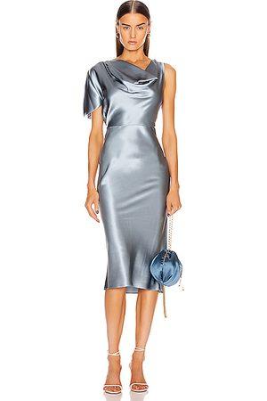 FLEUR DU MAL Asymmetrical Cowl Dress in Steel