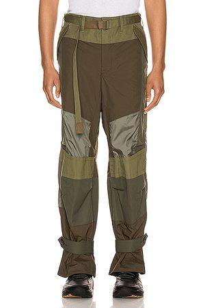 SACAI Fabric Combo Pants in Khaki